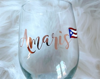 Bridesmaid Proposal Bridal Party Gift Puerto Rico Wine Glass Bridesmaid Glasses Personalized Puerto Rican Stemless Wine Glass