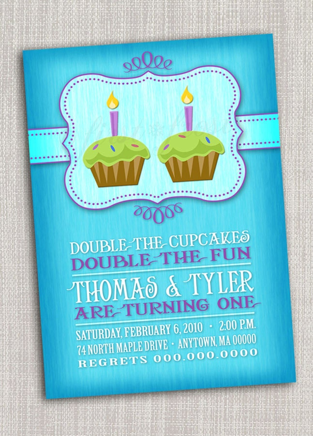 twins first birthday party invitation cupcake twins first