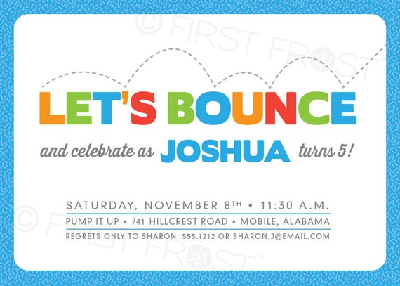 Kids Birthday Bounce Party Invitation Bounce Party Bounce House