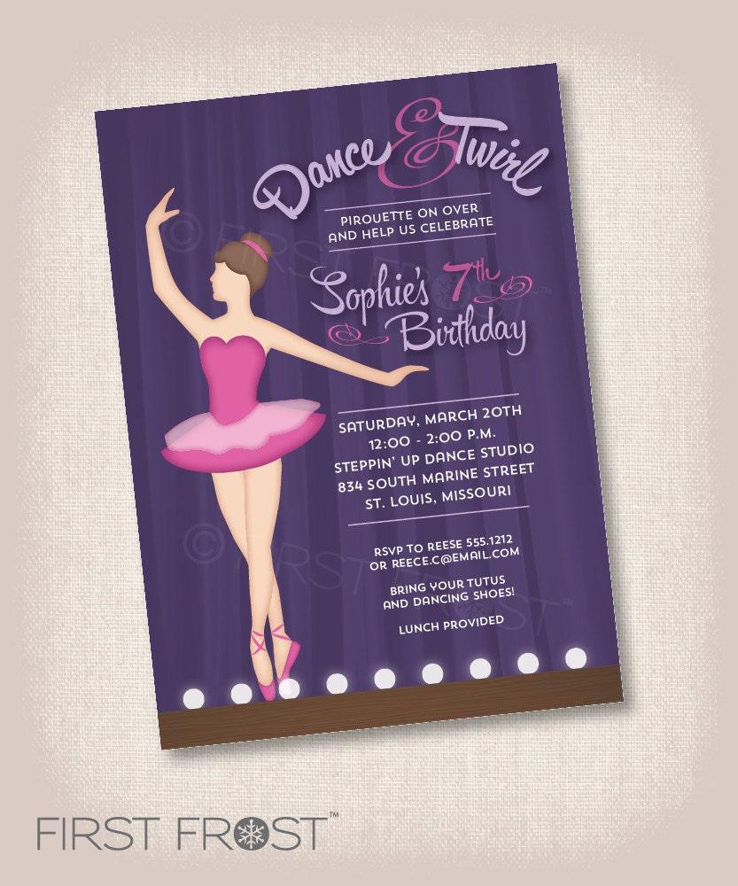 Primera bailarina cumpleaños fiesta invitación imprimible