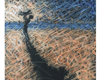 Lift Me Up original oil pastel painting ~ Mother lifting child into the air ~ Beach scene with long shadows