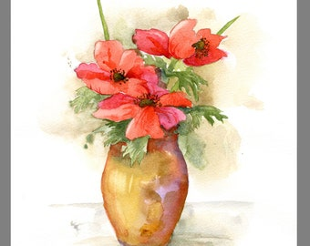 Floral bouquet watercolor ~ Red flowers ~ Original painting of 3 red anemone blossoms ~ Still life with vase