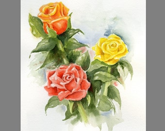 Roses hand painted watercolor original ~ Floral painting of three roses in a loose expressionist style ~ Garden fresh roses