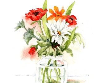 Floral bouquet watercolor painting ~ Red anemones and white daisy flowers in a glass jar still life
