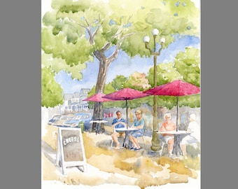 Ocean Grove Red Umbrellas watercolor painting ~ Original watercolor of a Main Avenue Cafe ~ Down the Jersey Shore
