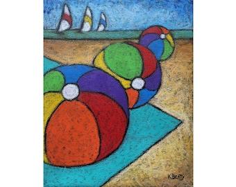 Beachballs Beach painting ~ 3 beach balls and 3 sailboats oil pastels on canvas