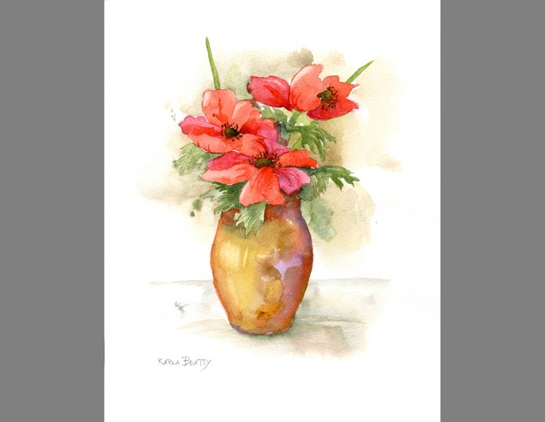 Floral bouquet watercolor  Red flowers  Original painting of image 0