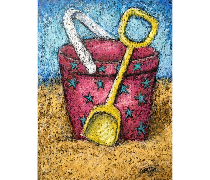 Pink Sand Pail original oil pastel painting  Beach scene with image 0