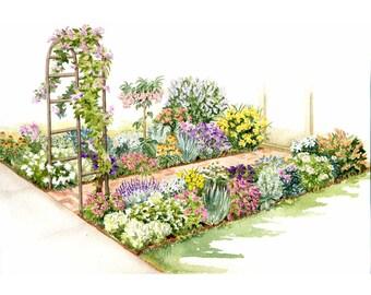 Garden Watercolor Painting ~ Watercolor Print ~ Digital download print of a flowering garden scene in watercolors