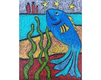Blue fish painting ~ Original oil pastel painting on canvas ~ Blue fish, seaweed, stars, and figures