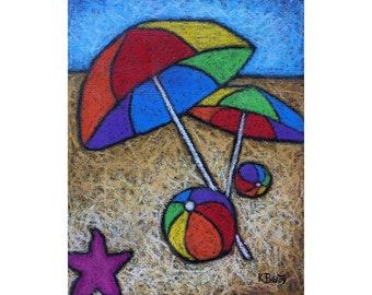 Beach umbrellas original painting ~ Rainbow color umbrellas and beach balls in a beach scene landscape