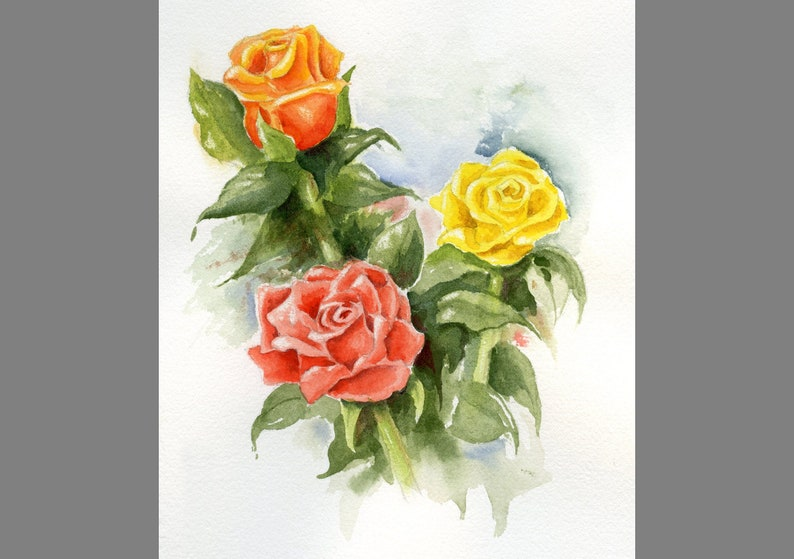Roses hand painted watercolor original  Floral painting of image 0