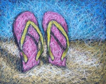 Pink flip flops on a beach ~ Beach scene in oil pastels on canvas