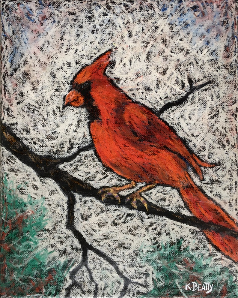 Cardinal Red original oil pastel painting  Red bird on a bare image 0