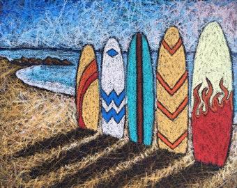 Surfboards on a beach original painting ~ Oil pastels on canvas ~ Original oil pastel painting of a beach scene