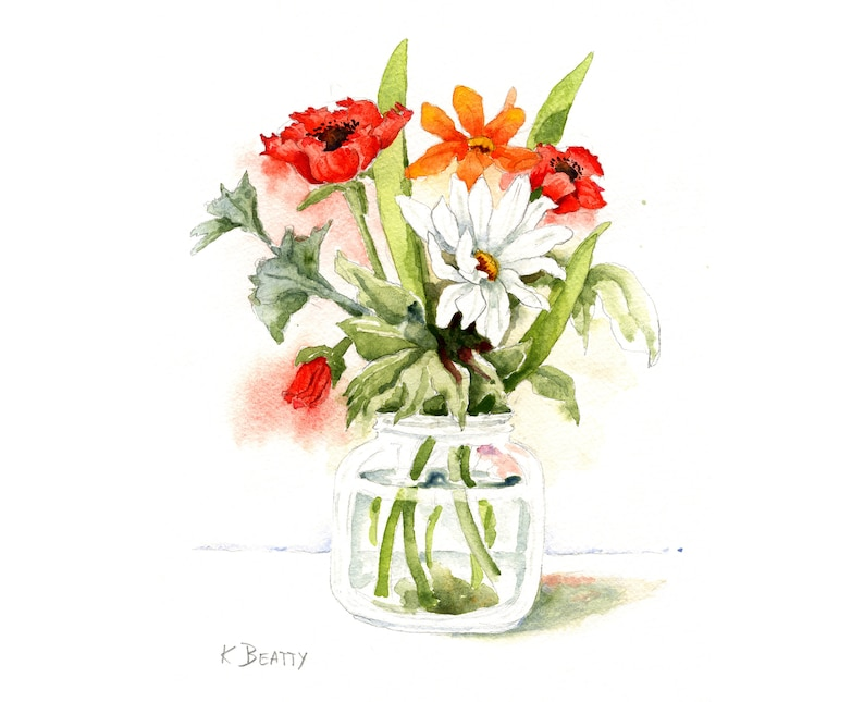 Floral bouquet watercolor painting  Red anemones and white image 0