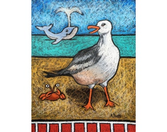 Seagull, whale, crab original painting ~ Oil pastels on canvas beach scene painting