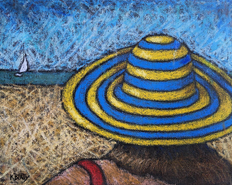 Beach Hat Blue and Yellow original oil pastel painting  A day image 1