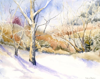 Winter Trees watercolor landscape ~ Original painting of trees in the winter time with shadows on the snow