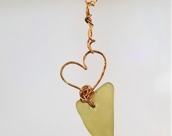 "Lime Yellow Sea Glass Necklace, Alki Beach Jewelry, Beach Glass Pendant, Beach Jewelry, Summer Jewelry, Mermaid""s Tear"
