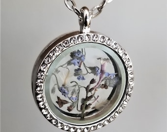 Pressed Flower Pendant Necklace, Woodland Jewelry, Terrarium Necklace