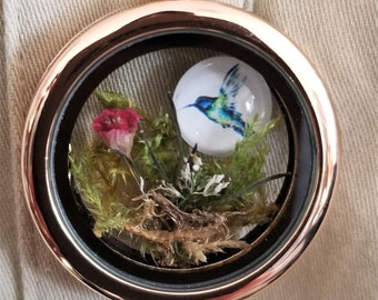 Hummingbird Garden Locket Necklace, Meaningful Jewelry, Terrarium locket