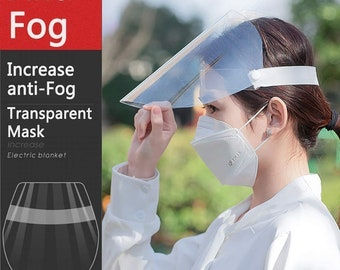 Face Shield Full Cover (5 Shields) Optically Clear, Easily Cleaned all Plastic, Fits Any Size, Anti Fog, Mask and Glasses fit Under