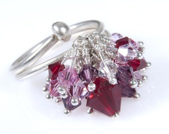8c8528ef33f Deep Red Marsala and Pink Swarovski Crystal Kinetic Size-Adjustable.  Cocktail Ring. Sparkle Crystal and Silver Ring. Anniversary Gift