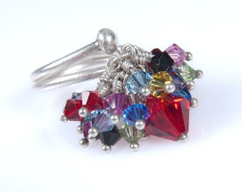 084c16db36f Original Kinetic Silver Ring. Red and Colorful Sparkle Swarovski Crystals  Adjustable Cocktail Ring. Statement Ring. Anniversary Gift Idea