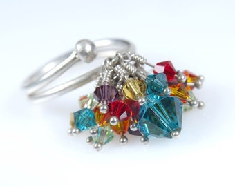 f3386699bbe Turquoise and Colorful Swarovski Crystal Statment Ring. Silver Ring.  Kinetic Jewelry. Anniversary ring. Holiday Gift idea. Mothers Day Gift