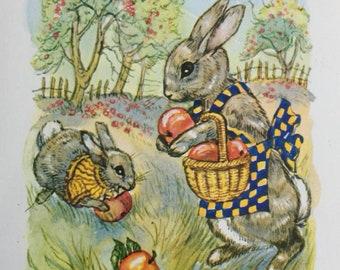 Vintage 1st Birthday Card, Unused, Cute Rabbits, Bunnies, Bunny