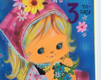 Vintage 3rd Birthday Card, Unused, Cute Girl with Mouse
