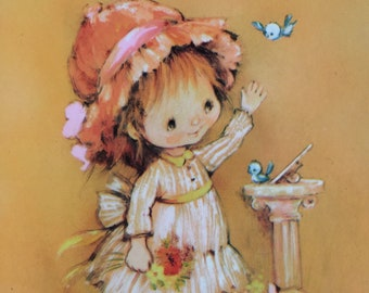 Vintage Mother's Day Card, Cute Girl, Bluebirds, Mice, Kittens, Duckling, Unused