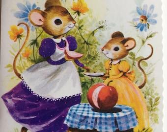Vintage Granddaughter Birthday Card, Unused, Cute Mice, Mouse