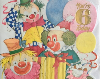 Vintage 6th Birthday Card, Unused, Clowns, Party, Gift, Balloons