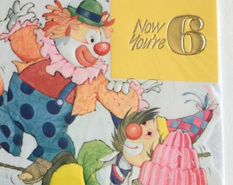 Vintage 6th Birthday Card, Unused, Clowns, Party, Jelly, Circus