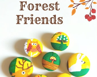 Forest friends - set of 7 buttons in a tin box - LIMITED EDITION collection