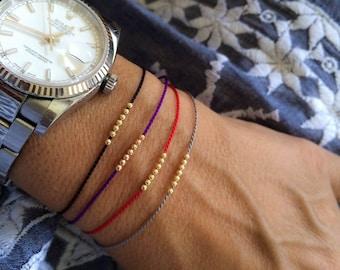 14k solid gold Seven Wish bracelet, friendship bracelet, silk bracelet, 14k solid gold