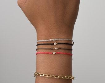 14k gold diamond friendship bracelet - gift for her - summer bracelet -diamond bracelet