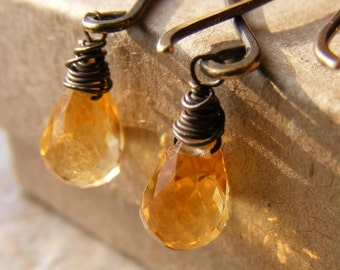 Saffron Earrings - Citrine and Antiqued Brass - FREE U.S. SHIPPING