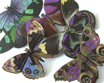 Phantom Butterfly, wooden butterfly brooch, purple, green, blue, wood, brooch, by NewellsJewels on etsy