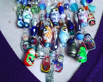Handmade, Babushka, Russian Dolls, Necklace,bib necklace, feature necklace, mix colour, gypsy, hippie, by Newellsjewels on etsy