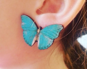 BLUE, GREEN or RED Butterfly, clip on, earrings, clip on earrings, wood, wooden, by NewellsJewels on etsy