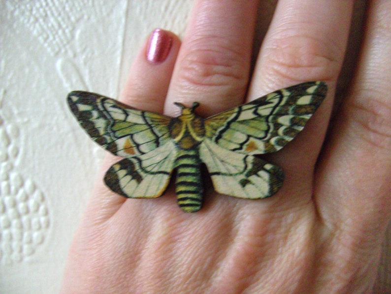 wooden ring,adjustable C by NewellsJewels on etsy Moth Lady of the Night Choose A,B
