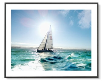 63495f31 SAILBOAT ART Printed & Shipped! Florida Decor, Sailing Art, Ocean Art,  Sailboat Gifts, Sailing Gifts, Gifts for Men, Yachting, Yacht Gift