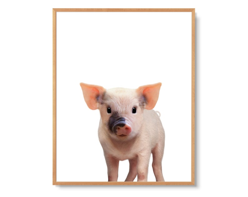 BABY PIG PRINT nursery art is perfect gender-neutral baby shower gift |  This cute piglet is great for farmhouse decor or boy's or girls room