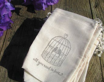 25 Love bird and quote stamped muslin drawstring bags