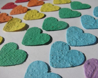 60 Rainbow colored plantable heart confetti- homemade paper embedded with flower seeds
