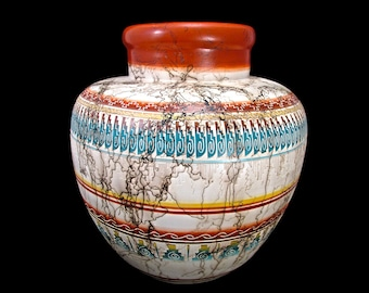 Navajo Etched Pottery Giant Ornamental Pot - Contemporary Original Navajo Horsehair Pottery - Planter - Vase - New Mexico - Native American
