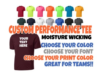 b8fc5933 Custom Performance Tee, Custom T-Shirt, Custom Moisture Wicking Tee, Custom  Tee, Team Shirts, Moisture Wicking Tee
